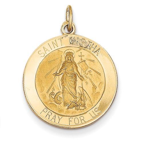 14k Yellow Gold Engravable Saint Martha Medal Pendant.