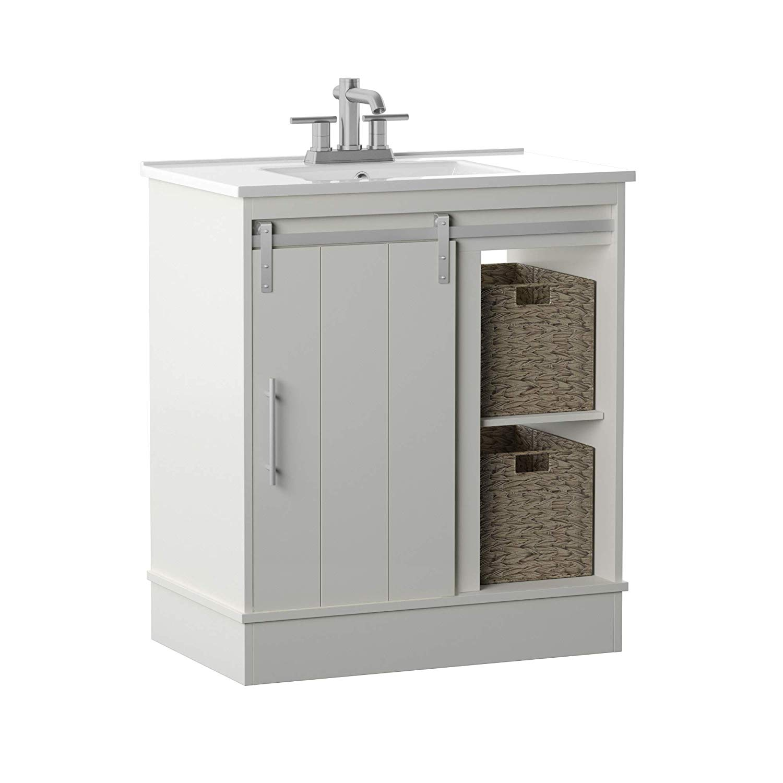 Pamari Milani 30 Single Bathroom Vanity With Sliding Barn Door And White Sink Walmart Com Walmart Com