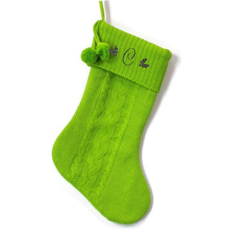 Monogrammed Christmas Stocking, Green Cable Knit with Poms with Red Script Glitter Initial ()