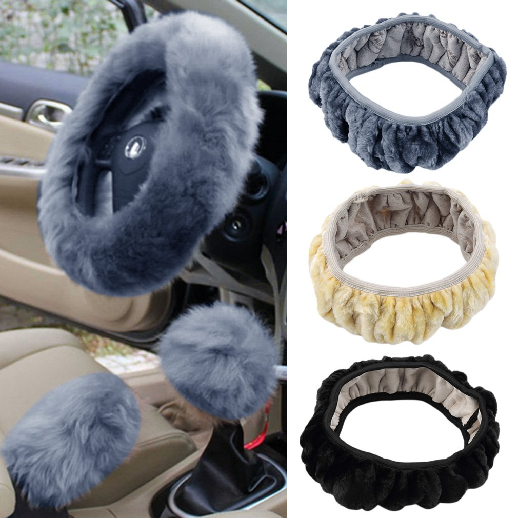 Charm Warm Long Wool Plush Steering Wheel Cover for Car Handbrake Accessory