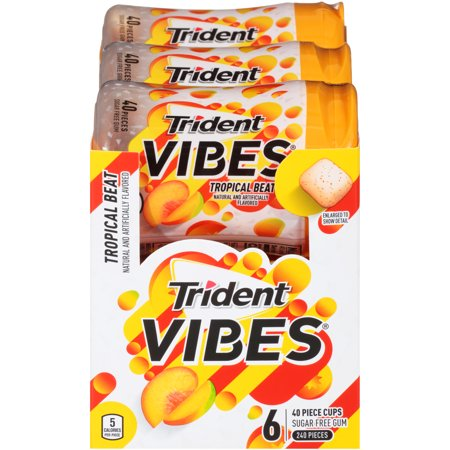 Trident Vibes, Sugar Free Tropical Beat Chewing Gum, 40 Pcs, 6