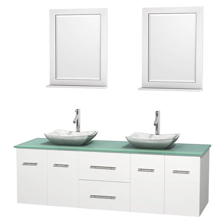 Wyndham Collection Centra 72 inch Double Bathroom Vanity in Matte White, Green Glass Countertop, Avalon White Carrera Marble Sinks, and 24 inch Mirrors (Matte Glass Countertop)