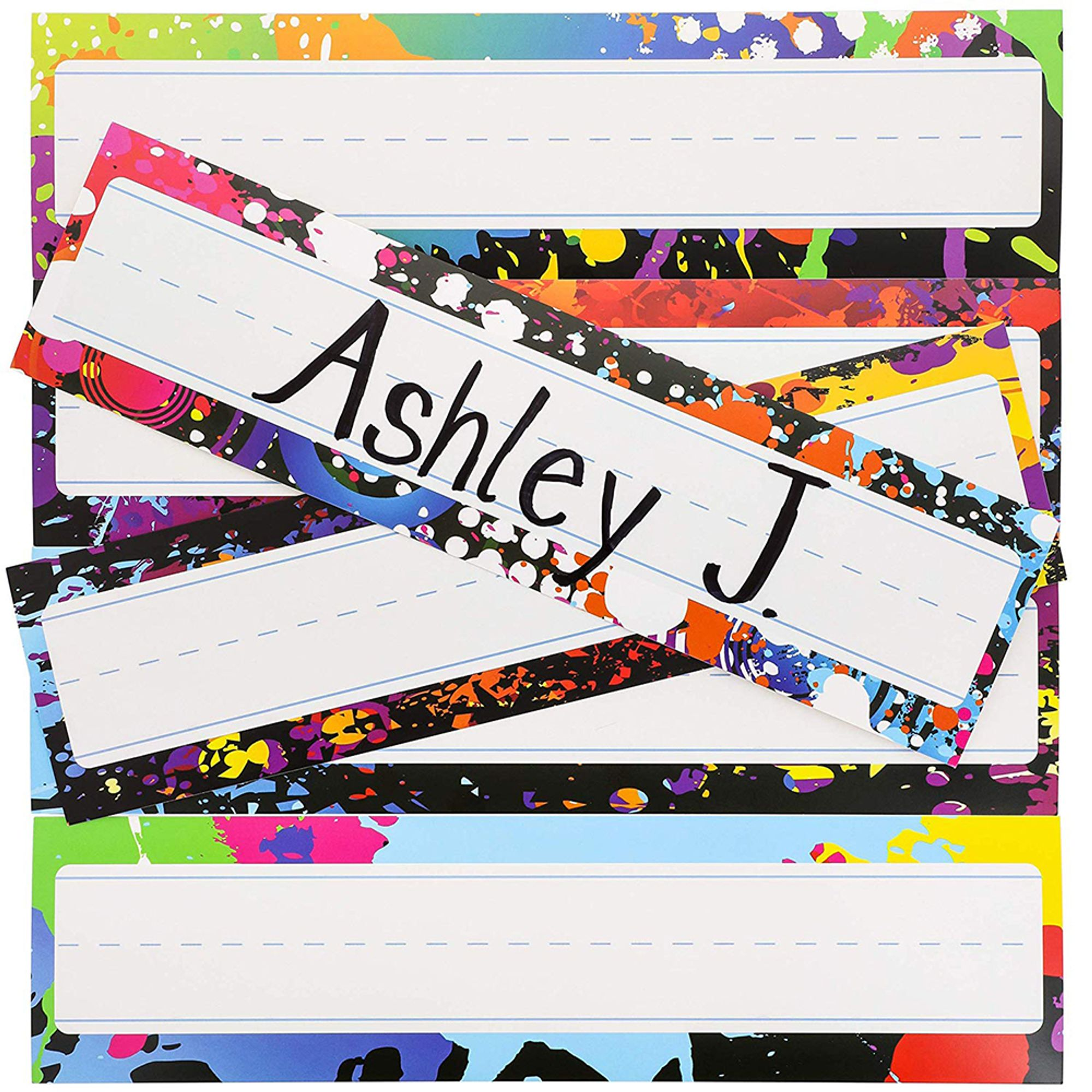 Desk Nameplates 48-Pack Colorful Desktop Reference Name Plates, 6 Splash Designs, Paper Name Tags for... by