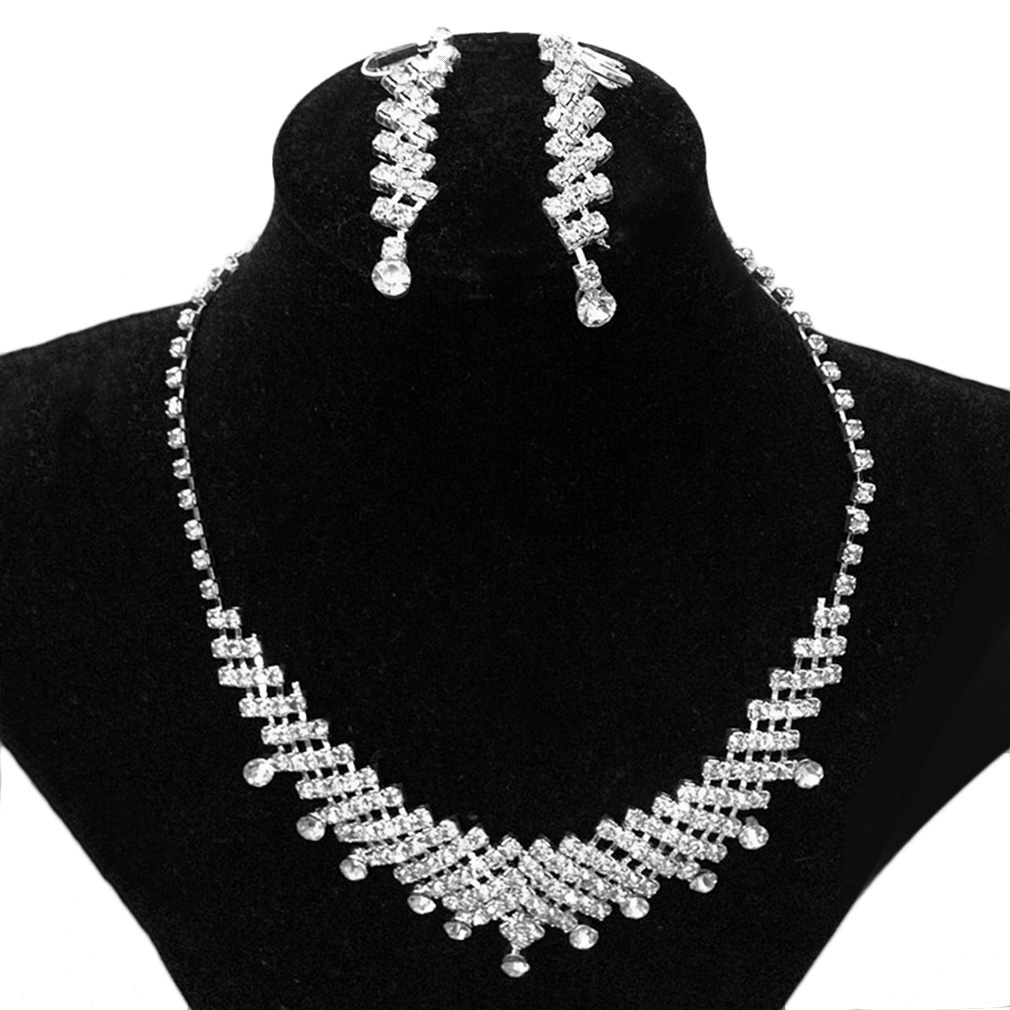 Bridal Prom Rhinestone Jewelry Crystal Wedding Necklace and Earring Set Jewelry Set