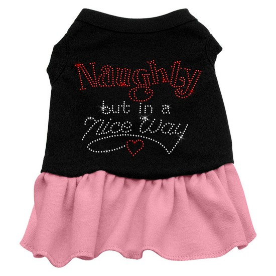 Rhinestone Naughty but in a nice way Dress Black with Pink XXL (18)