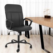 Office Chair, Mid Back Premium Bonded Leather Office Computer Swivel Desk Task Chair-Black