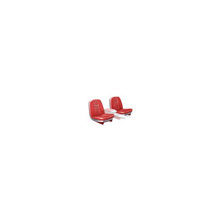 MACs Auto Parts Premier  Products 66-57192  Ford Thunderbird Front Bucket & Rear Bench Seat Covers, Full Set, Vinyl, Red #8, Trim Code 25, Without Reclining Pa
