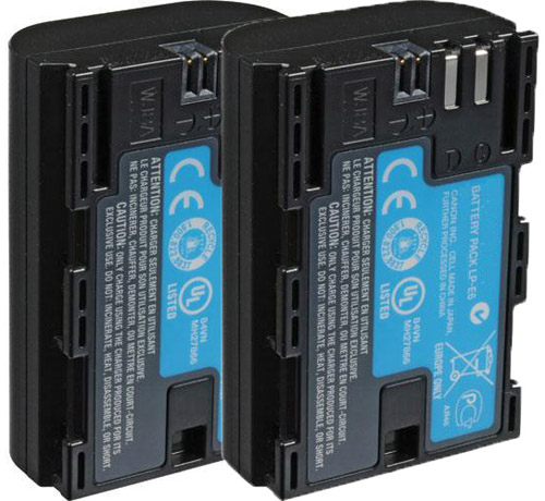 Replacement Battery for Canon LP-E6 - Fits EOS 7D, EOS 60D / 60DA, EOS 5D MARKII - 2 Pack