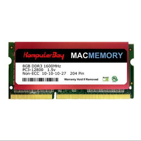 Komputerbay MACMEMORY 8GB PC3-12800 1600MHz SODIMM 204-Pin Laptop Memory 10-10-10-27 Single 8GB Stick for Apple Mac