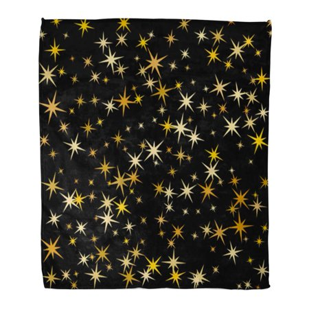 ASHLEIGH 58x80 inch Super Soft Throw Blanket Cosmic Abstract with Gold Star Confetti Shining Sparkles Pattern Design on Black Home Decorative Flannel Velvet Plush Blanket ()