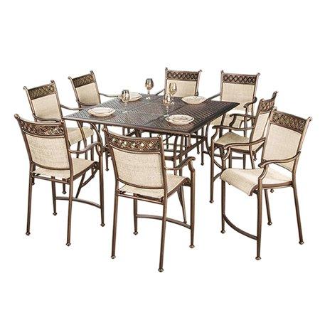 "- 55"" 11 Pc. Beautiful Bronze Colored Aluminum Outdoor Patio Bar Table Set"