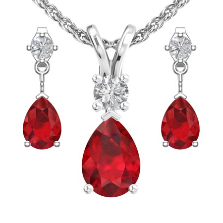 - Sterling Silver Jewelry Set for Women with Lab-Grown Ruby and Natural White Topaz Pendant Necklace and Matching Stud Earrings