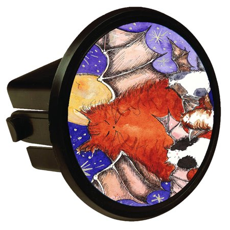 KuzmarK Round Hitch Cover - Batty Kitty Family & Full Moon Halloween Cat Art by Denise Every