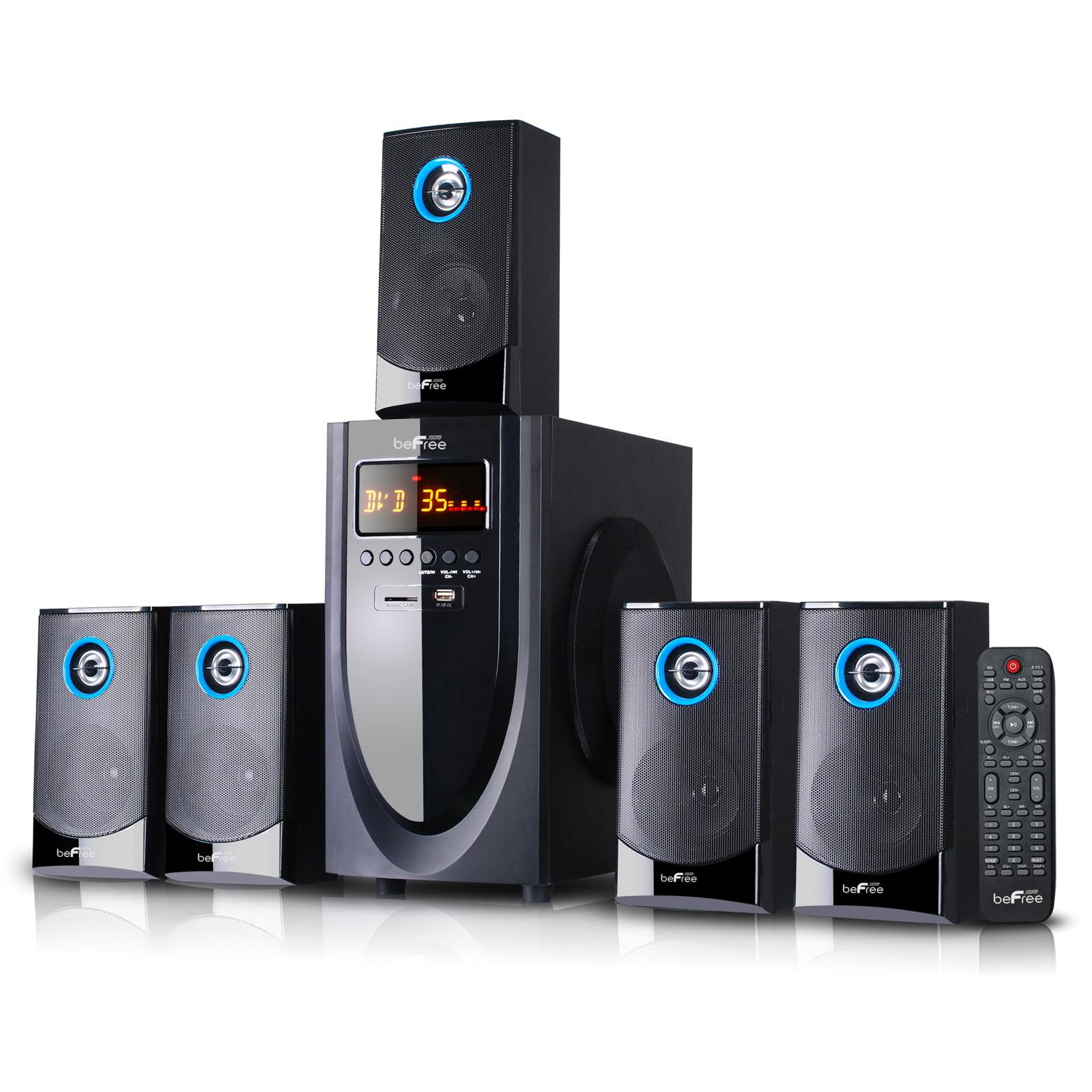 beFree Sound BFS-520 5.1 Channel Bluetooth Surround Sound Speaker System in Black and Blue
