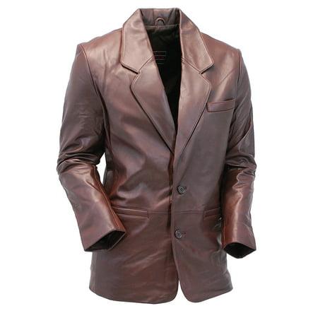 Chocolate Brown Two Button Lambskin Leather Blazer  #M1181N