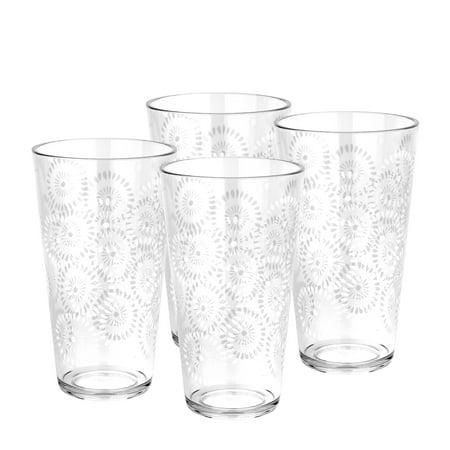 Zak Designs Batik Highball Glasses 23 oz. Clear (Design Highball)