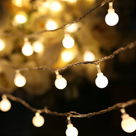 LED String Lights, Warm White Ball Fairy Lights, Waterproof Decorative Starry Lights for Bedroom Patio Parties, Battery Powered Size:3 meter 30 lamp bulb [battery] ()