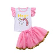 Summer Kids Baby Girl Unicorn Ruffle Sleeve Top T-shirt + Pink Lace Tulle Tutu Skirt Outfit Clothes 2-3 Years