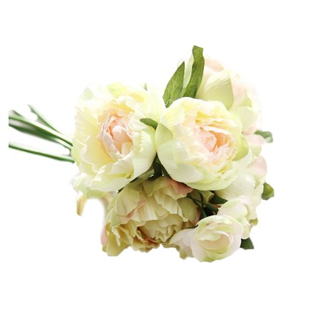 Fake Flowers Artificial Peony Silk Flowers 8 Heads Bouquet Home Wedding Party Decoration Table - Dark Blue Silk Flowers