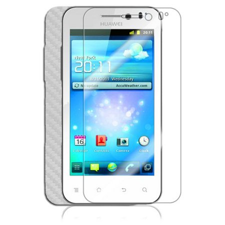 Skinomi Carbon Fiber Silver Skin Cover+Clear Screen Guard for Huawei Mercury Ice