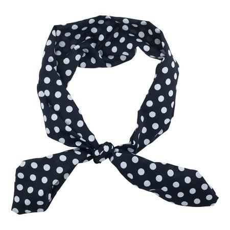 Polka Dot Nylon Headband - Lux Accessories Black White Polka Dot Chiffon Pin Up Girl HeadTie SCarf Headband