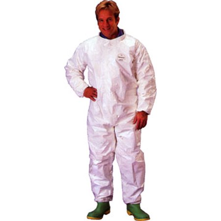 Tyvek Saranex Sl Coverall With Hood  Elastic Wrists And Ankles  12 Per Case  Size Large