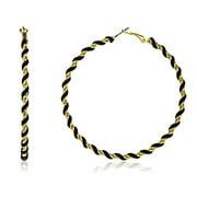 Goldtone 80mm Twist Design Hoop Earrings (Colors Vary) (Black)