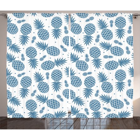 Pineapple Decor Curtains 2 Panels Set, Island Theme Minimalistic Multi-Sized Tropic Pineapple Vintage Style Print , Window Drapes for Living Room Bedroom, 108W X 90L Inches, Blue White, by Ambesonne for $<!---->