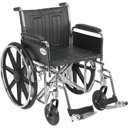 "Drive Medical Sentra EC Heavy Duty Wheelchair, Detachable Full Arms, Swing away Footrests, 20"" Seat"