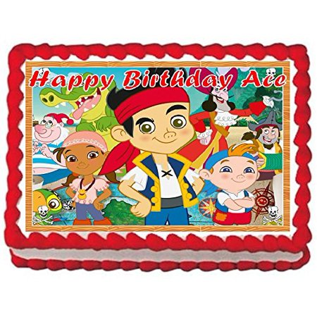 Jake and the Never Land Pirates Personalized Edible Cake Topper Image -- 1/4