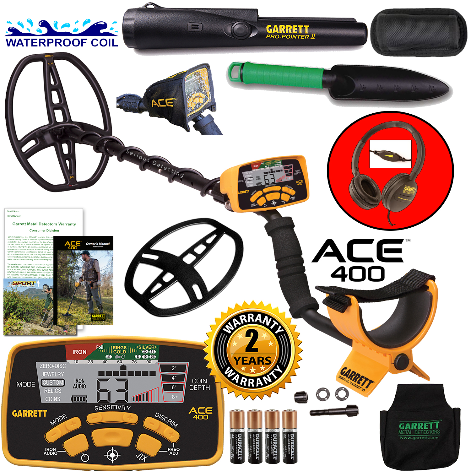Garrett ACE 400 Metal Detector w/ Pro-Pointer II & Accessories Bundle