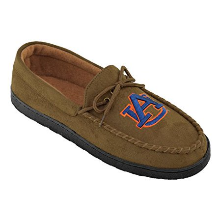 NCAA (Team) Premium Men?s Moccasin Shoes ? Comfortable Flannel Lining Indoor and Outdoor use easy Slip on and off, Size 8,Brown
