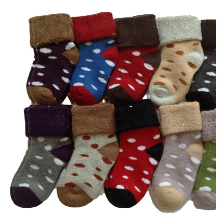 - Meso Unisex Baby Toddler 6 Pairs Pack Cashmere Wool Socks Dots Random Color