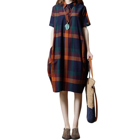 ce376ecc7fedb ZANZEA - Women Casual Loose Plaid Button Turn-down Collar Side Pockets  Shirt Dress - Walmart.com
