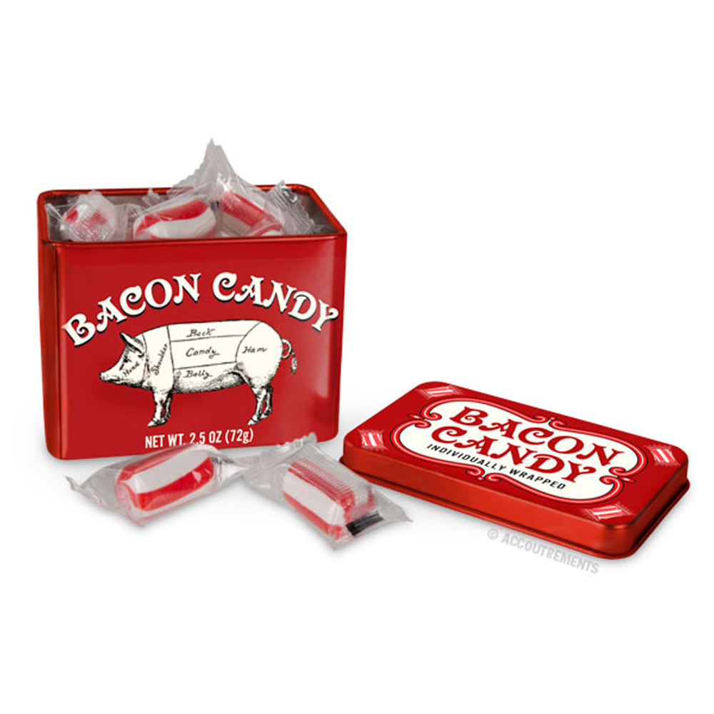 Bacon Flavored Candy in Collectible Tin by Cellbatt