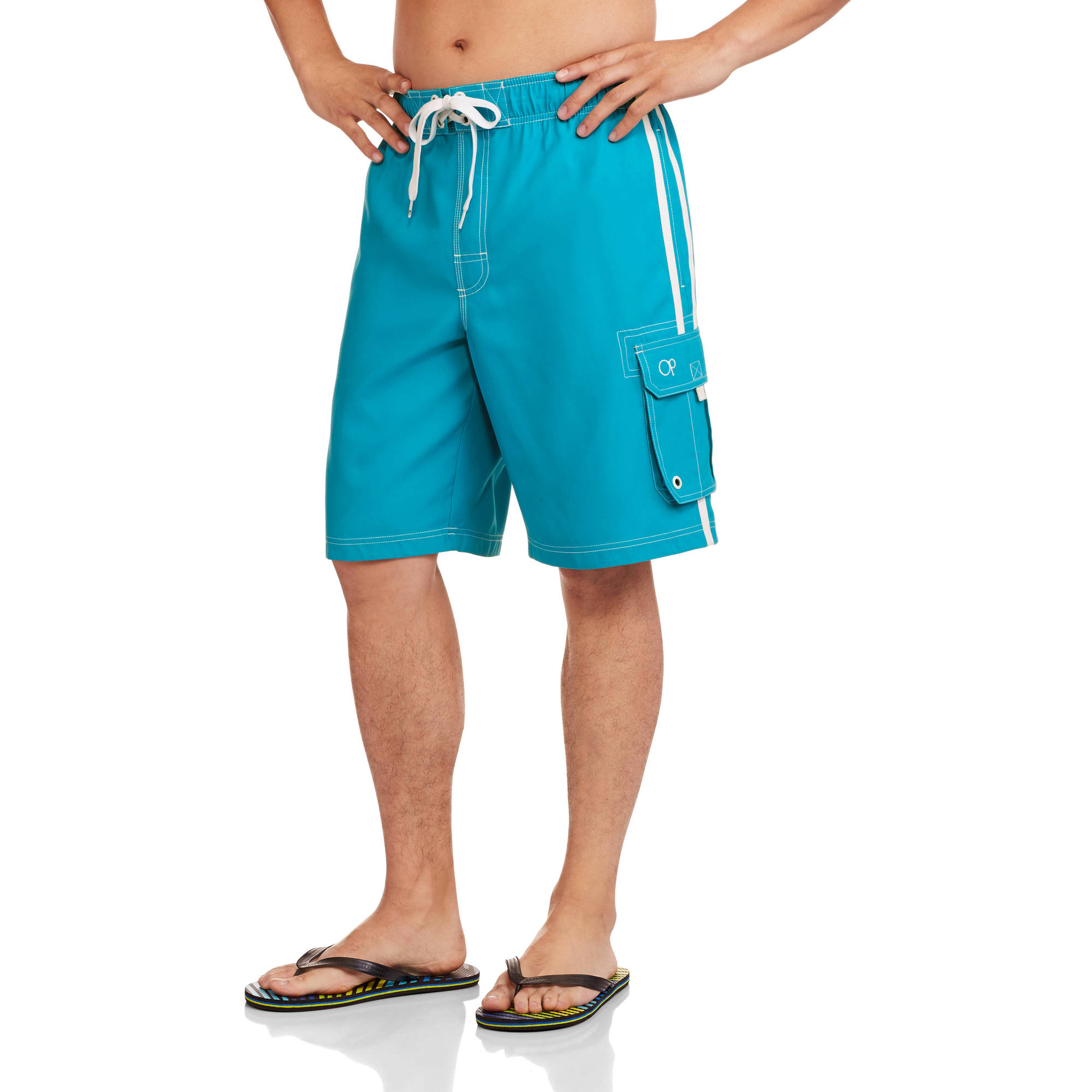 Op Men's Elastic Waist Solid Cargo Swim Trunks