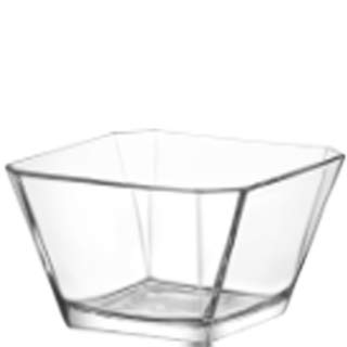 LAV 64.25 Ounce Glass Serving Bowl | Beautiful Geometric Squared Shape, Made from Thick, Durable Glass, Great for Salads, Dessert, Fruit, and More, Microwave and Dishwasher Safe Pattern Fruit Dessert Bowl
