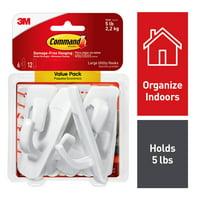 3M Command Large Utility Hooks, White, Organize Damage-Free, 6 Hooks