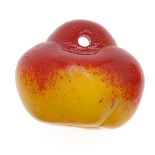 Czech Glass Yellow And Red Apples Beads or Charms (10 Beads)