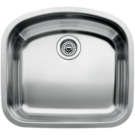 "Blanco 440249 Wave 20.43"" X 22.43"" Single-Basin Stainless Steel Undermount Residential Kitchen Sink, Stainless Steel"