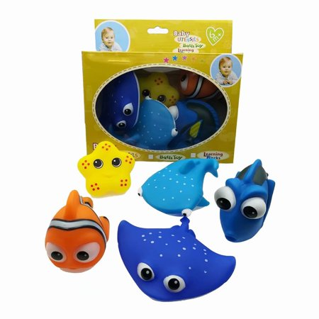 Akoyovwerve 6Pcs Baby Bathroom Play Game Water Bath Float Squeaky Animal Spray Educational Toy, Size - Halloween Games For Toddlers To Play