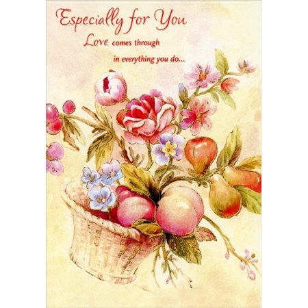 Designer Greetings Gold Foil Floral and Fruit Basket: Especially For You Mother's Day Card