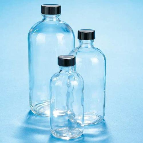 KIMBLE CHASE 5121628C-24 Boston Round Glass Bottle, Rubber, 60 Pk