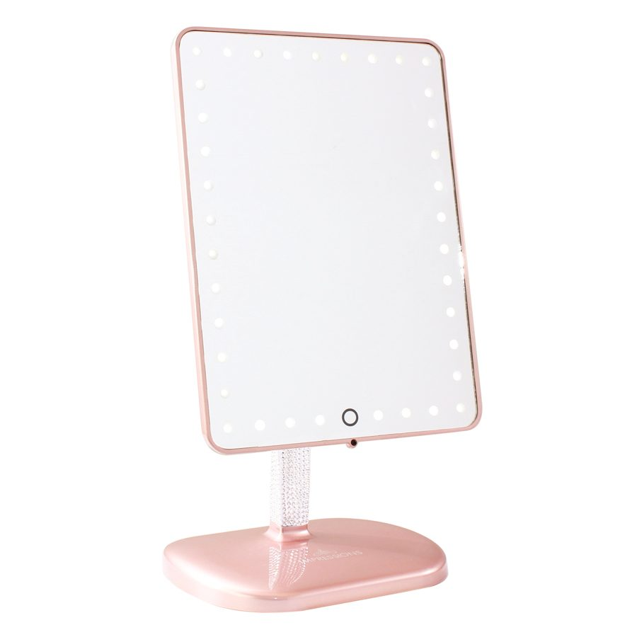 TOUCH PRO LED MAKEUP MIRROR WITH WIRELESS BLUETOOTH AUDIO+SPEAKERPHONE \u0026  USB CHARGER IN ROSE GOLD