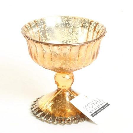 Koyal Wholesale 4.5-Inch Rose Gold Glass Compote Bowl Pedestal Flower Bowl - Rose Centerpiece