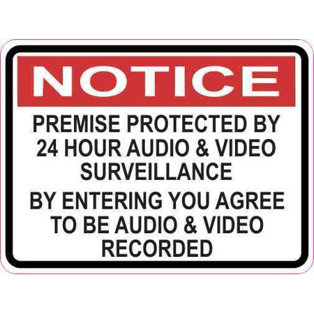 3 x 2.25 Notice Premise Protected By 24 Hour Surveillance Magnet Magnetic Sign (Farmer 2.25 Magnet)