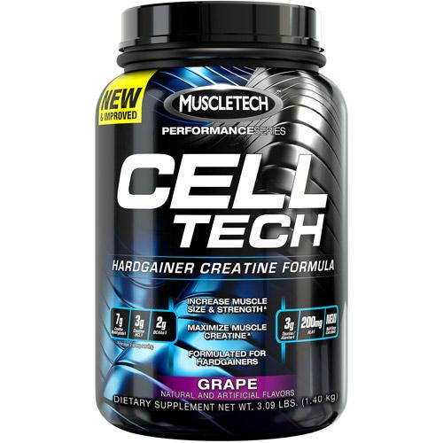MuscleTech Performance Series Cell Tech Hardgainer Creatine Formula Grape Dietary Supplement Powder, 3.09 lbs