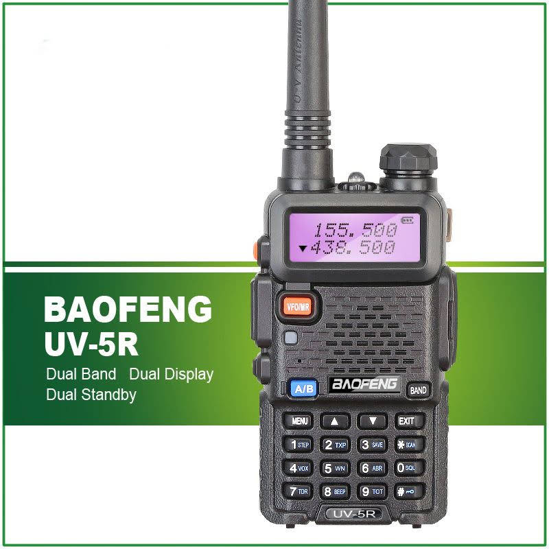 LESHP 128 Channels Built-in VOX Function BAOFENG UV-5R VHF/UHF Dual Band Radio 136-174/400-520MHz + Free Earpeice Desktop Charger