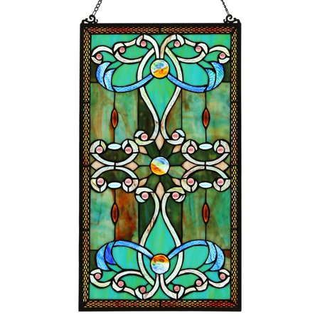 Stained Glass Lotus - River of Goods Tiffany Style Stained Glass Brandis Window Panel