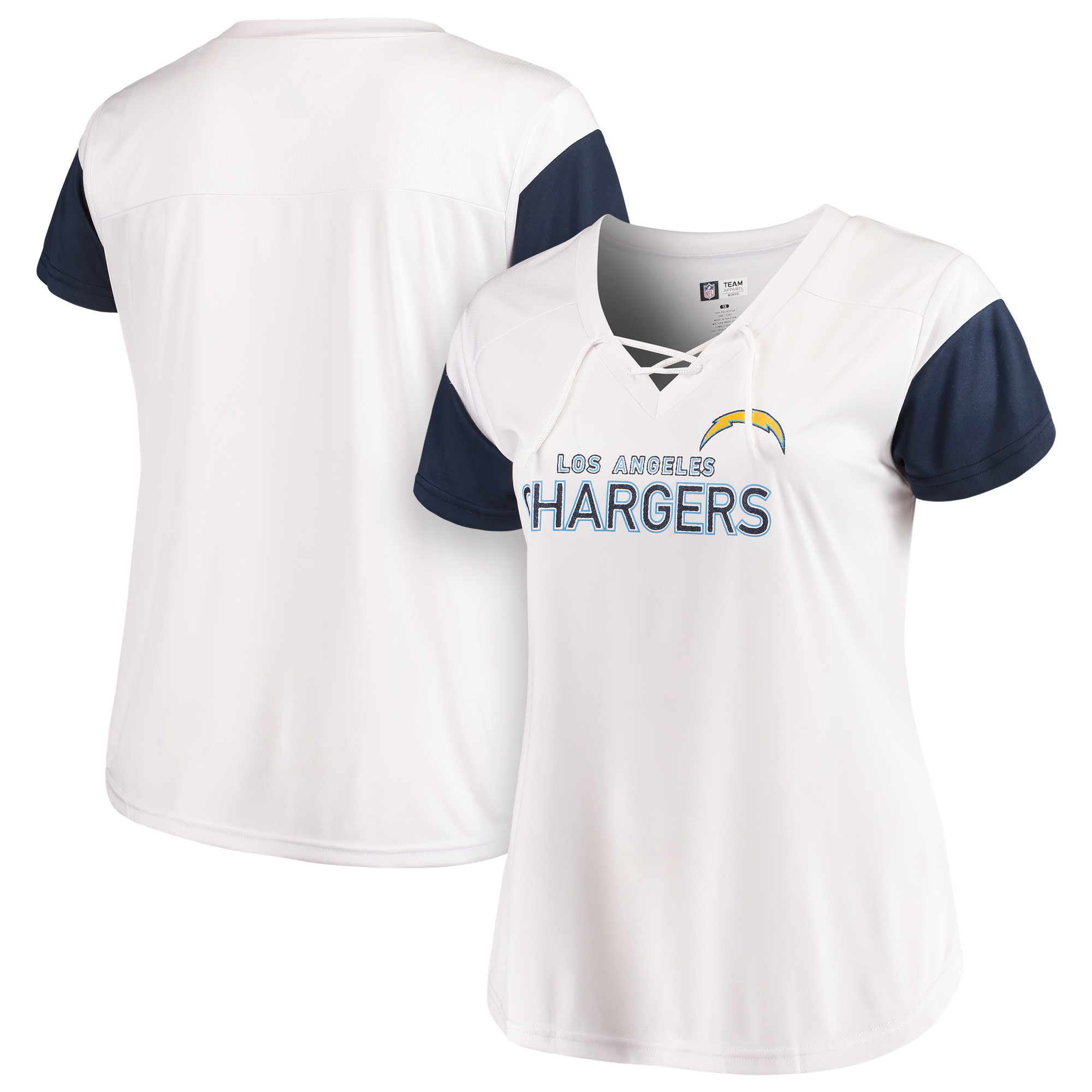 Los Angeles Chargers Majestic Women's Lace-Up V-Neck T-Shirt - White/Navy
